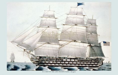 Fine art print of the U. S. Ship of the Line - Pennsylvania